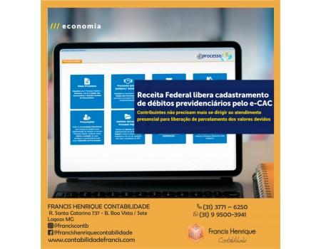 Receita Federal libera cadastramento de débitos previdenciários pelo e-CAC